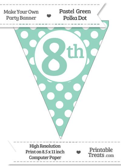 Pastel Green Polka Dot Pennant Flag Ordinal Number 8th from PrintableTreats.com