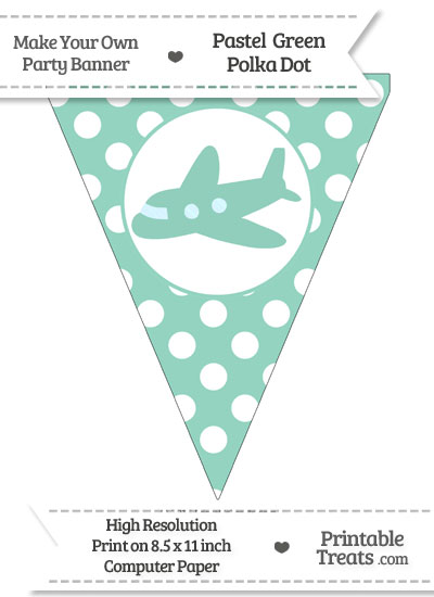 Pastel Green Polka Dot Pennant Flag with Airplane Facing Left from PrintableTreats.com