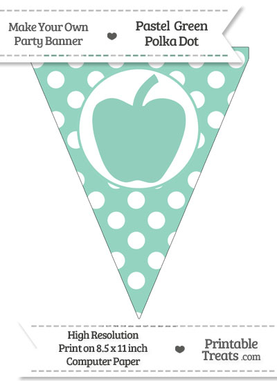 Pastel Green Polka Dot Pennant Flag with Apple from PrintableTreats.com