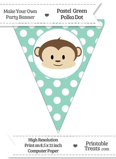 Pastel Green Polka Dot Pennant Flag with Boy Monkey from PrintableTreats.com