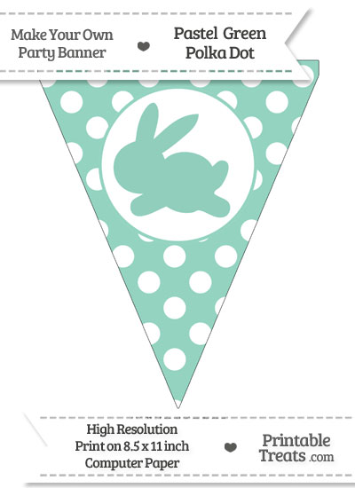 Pastel Green Polka Dot Pennant Flag with Bunny Facing Left from PrintableTreats.com