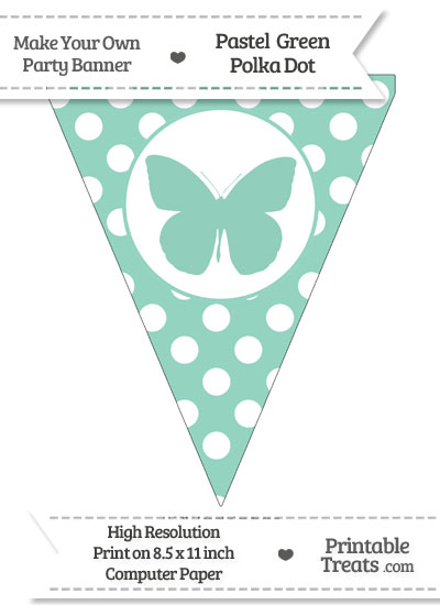 Pastel Green Polka Dot Pennant Flag with Butterfly from PrintableTreats.com