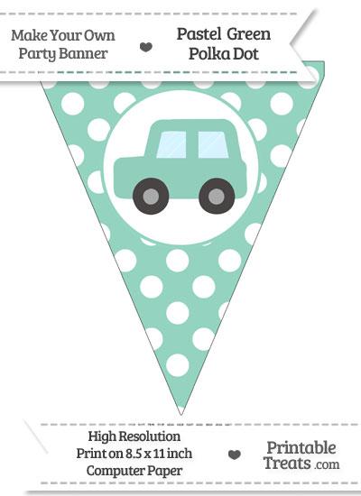 Pastel Green Polka Dot Pennant Flag with Car Facing Left from PrintableTreats.com
