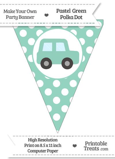 Pastel Green Polka Dot Pennant Flag with Car Facing Right from PrintableTreats.com