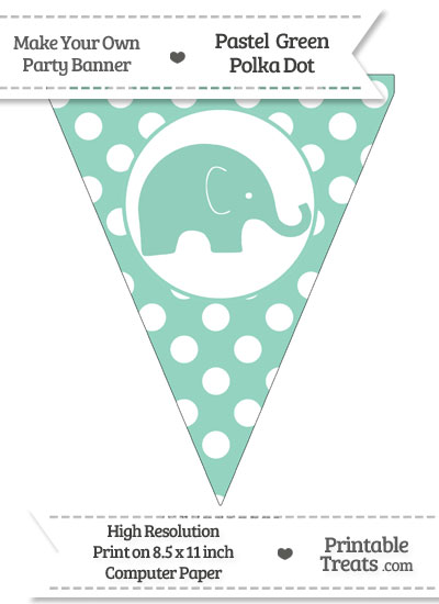 Pastel Green Polka Dot Pennant Flag with Elephant Facing Right from PrintableTreats.com