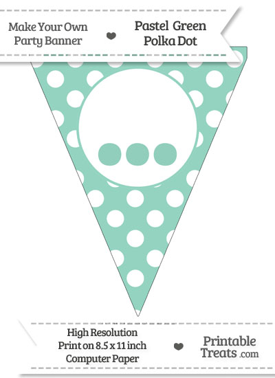 Pastel Green Polka Dot Pennant Flag with Ellipses from PrintableTreats.com