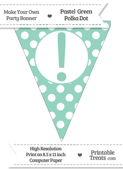 Pastel Green Polka Dot Pennant Flag with Exclamation Mark from PrintableTreats.com