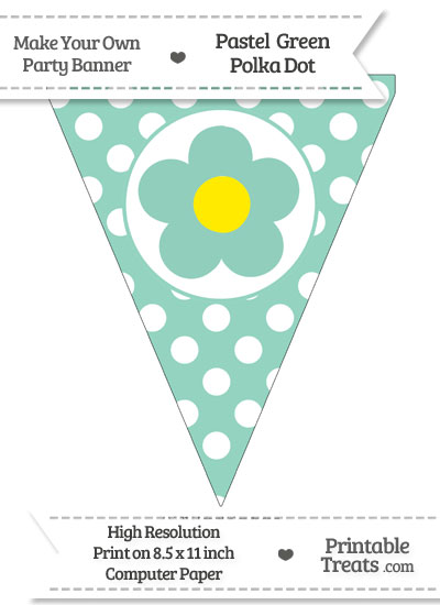 Pastel Green Polka Dot Pennant Flag with Flower from PrintableTreats.com