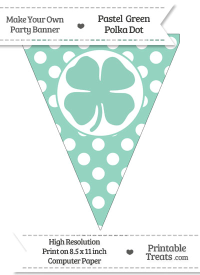 Pastel Green Polka Dot Pennant Flag with Four Leaf Clover Facing Right from PrintableTreats.com