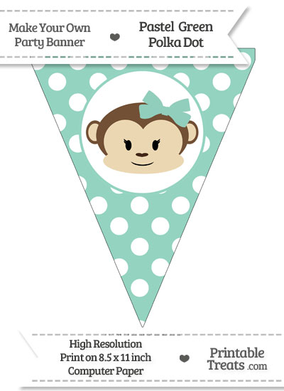 Pastel Green Polka Dot Pennant Flag with Girl Monkey from PrintableTreats.com