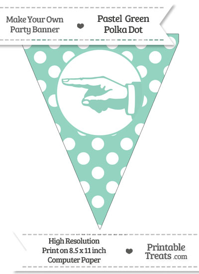 Pastel Green Polka Dot Pennant Flag with Hand Pointing Left from PrintableTreats.com