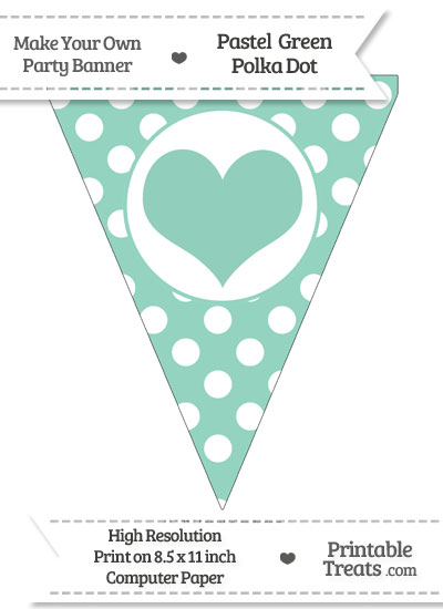 Pastel Green Polka Dot Pennant Flag with Heart from PrintableTreats.com