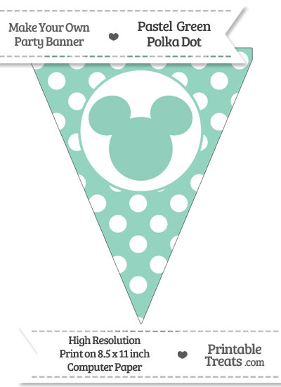 Pastel Green Polka Dot Pennant Flag with Mickey Mouse from PrintableTreats.com