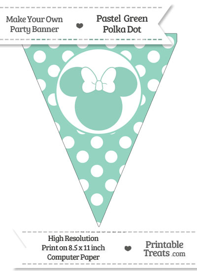 Pastel Green Polka Dot Pennant Flag with Minnie Mouse from PrintableTreats.com