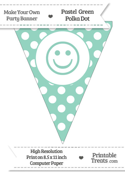 Pastel Green Polka Dot Pennant Flag with Smiley Face from PrintableTreats.com