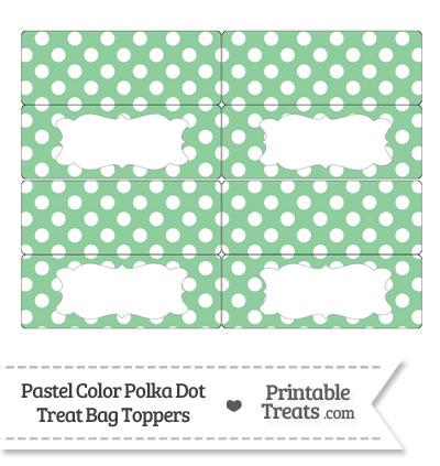 Pastel Green Polka Dot Treat Bag Toppers from PrintableTreats.com