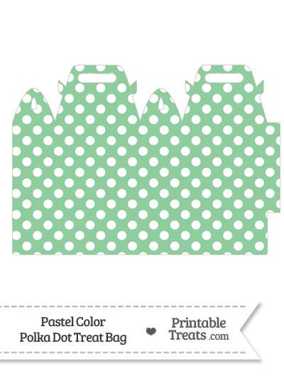 Pastel Green Polka Dot Treat Bag from PrintableTreats.com