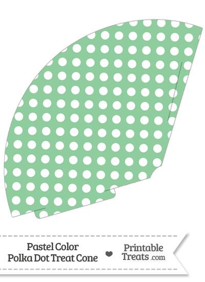 Pastel Green Polka Dot Treat Cone from PrintableTreats.com