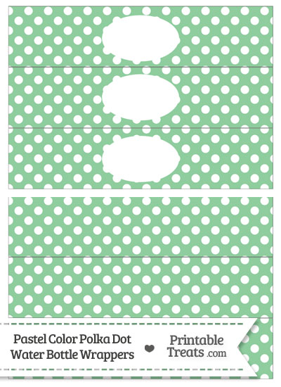 Pastel Green Polka Dot Water Bottle Wrappers from PrintableTreats.com