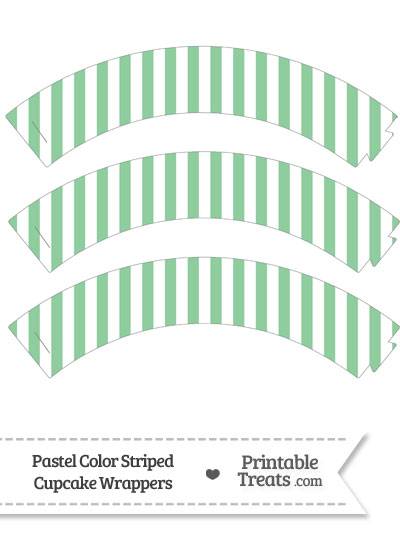 Pastel Green Striped Cupcake Wrappers from PrintableTreats.com