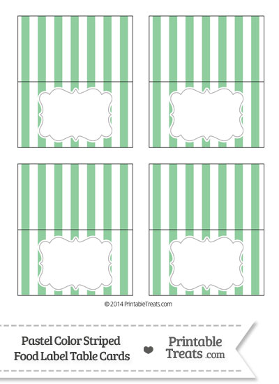Pastel Green Striped Food Labels from PrintableTreats.com