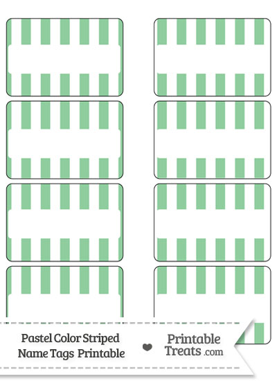 Pastel Green Striped Name Tags from PrintableTreats.com