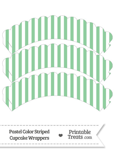 Pastel Green Striped Scalloped Cupcake Wrappers from PrintableTreats.com