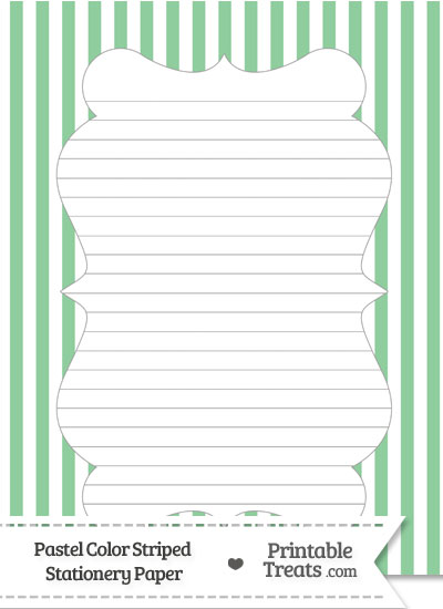 Pastel Green Striped Stationery Paper from PrintableTreats.com