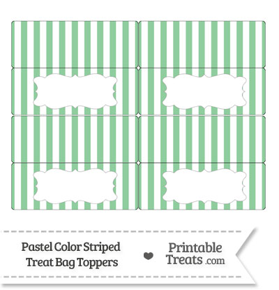 Pastel Green Striped Treat Bag Toppers from PrintableTreats.com