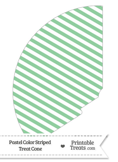 Pastel Green Striped Treat Cone from PrintableTreats.com