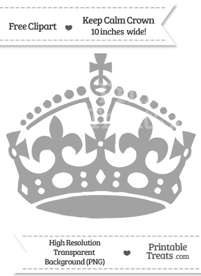 Pastel Grey Keep Calm Crown Clipart from PrintableTreats.com