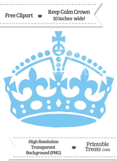 Pastel Light Blue Keep Calm Crown Clipart from PrintableTreats.com