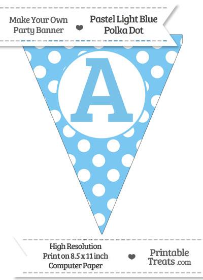 Pastel Light Blue Polka Dot Pennant Flag Capital Letter A from PrintableTreats.com