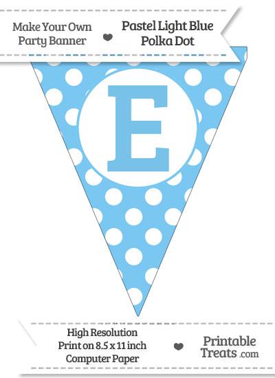 Pastel Light Blue Polka Dot Pennant Flag Capital Letter E from PrintableTreats.com
