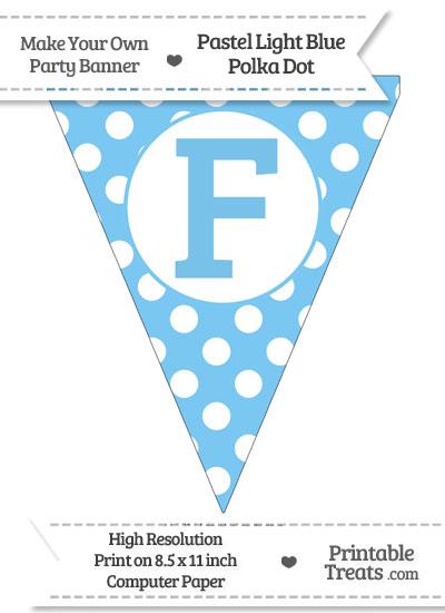 Pastel Light Blue Polka Dot Pennant Flag Capital Letter F from PrintableTreats.com