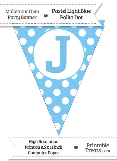Pastel Light Blue Polka Dot Pennant Flag Capital Letter J from PrintableTreats.com