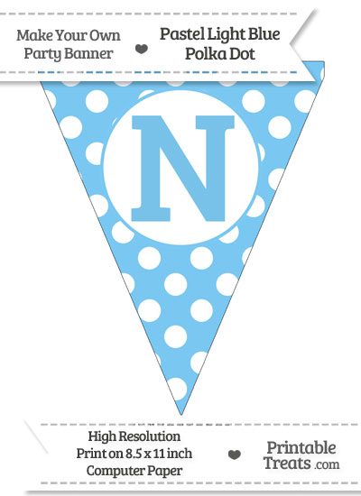 Pastel Light Blue Polka Dot Pennant Flag Capital Letter N from PrintableTreats.com