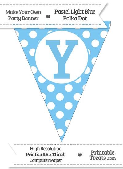 Pastel Light Blue Polka Dot Pennant Flag Capital Letter Y from PrintableTreats.com