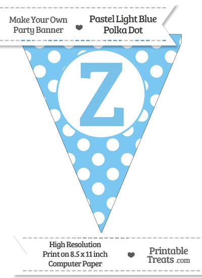Pastel Light Blue Polka Dot Pennant Flag Capital Letter Z from PrintableTreats.com