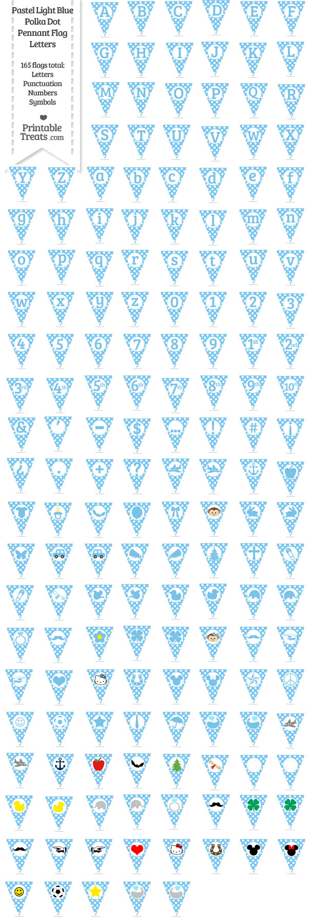 Pastel Light Blue Polka Dot Pennant Flag Letters Download from PrintableTreats.com