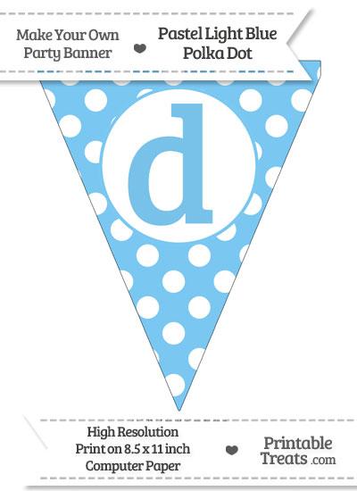 Pastel Light Blue Polka Dot Pennant Flag Lowercase Letter D from PrintableTreats.com