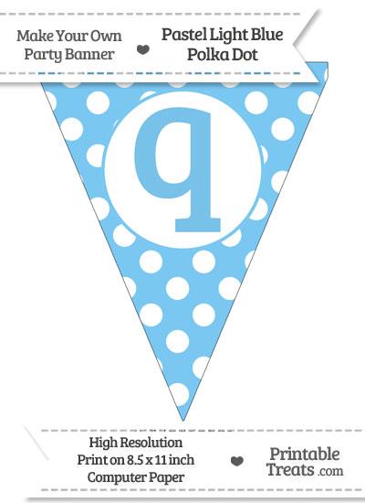 Pastel Light Blue Polka Dot Pennant Flag Lowercase Letter Q from PrintableTreats.com