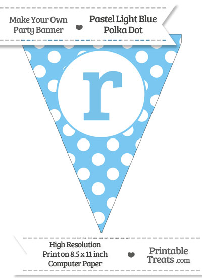Pastel Light Blue Polka Dot Pennant Flag Lowercase Letter R from PrintableTreats.com