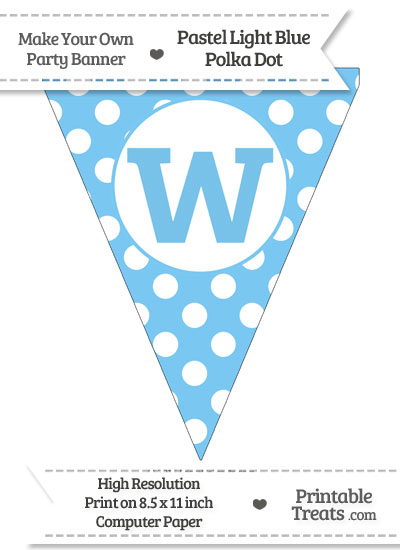 Pastel Light Blue Polka Dot Pennant Flag Lowercase Letter W from PrintableTreats.com