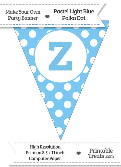 Pastel Light Blue Polka Dot Pennant Flag Lowercase Letter Z from PrintableTreats.com