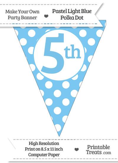 Pastel Light Blue Polka Dot Pennant Flag Ordinal Number 5th from PrintableTreats.com