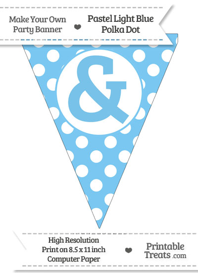 Pastel Light Blue Polka Dot Pennant Flag with Ampersand from PrintableTreats.com