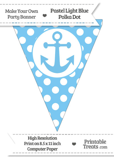 Pastel Light Blue Polka Dot Pennant Flag with Anchor from PrintableTreats.com