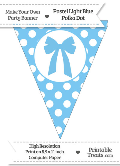 Pastel Light Blue Polka Dot Pennant Flag with Bow from PrintableTreats.com