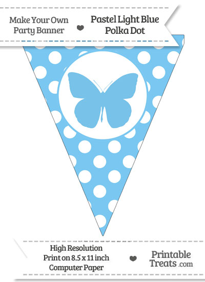 Pastel Light Blue Polka Dot Pennant Flag with Butterfly from PrintableTreats.com